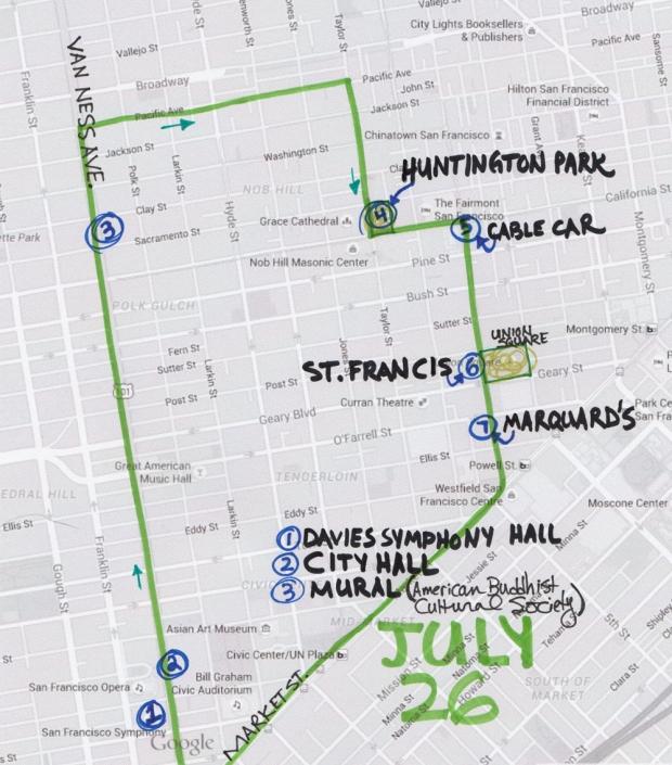 map of July 26 2015 walk