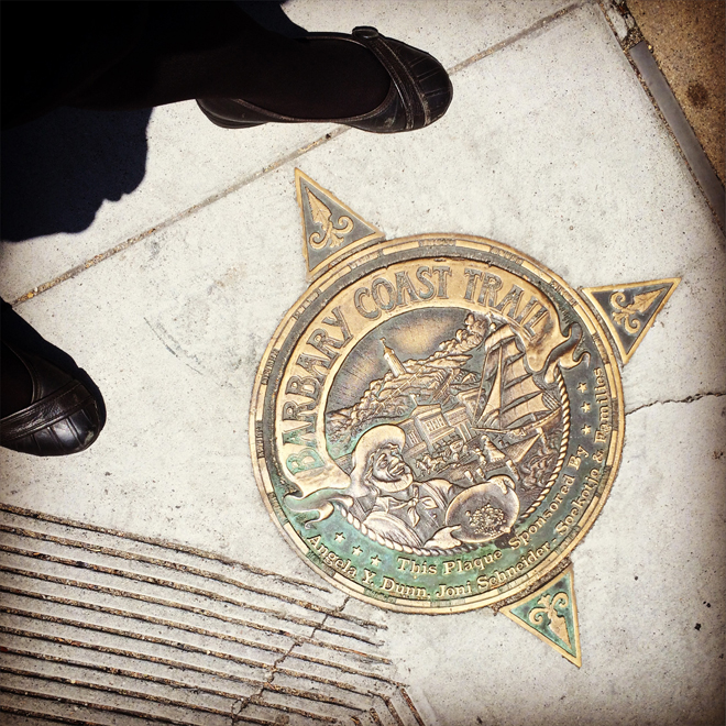 Barbary Coast shield outside of Huntington Park in San Francisco