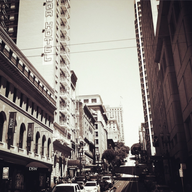 looking up Powell Street from Union Square