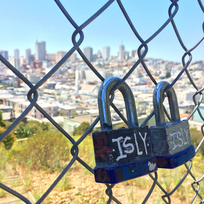 locks on park fence on top of Telegraph Hill