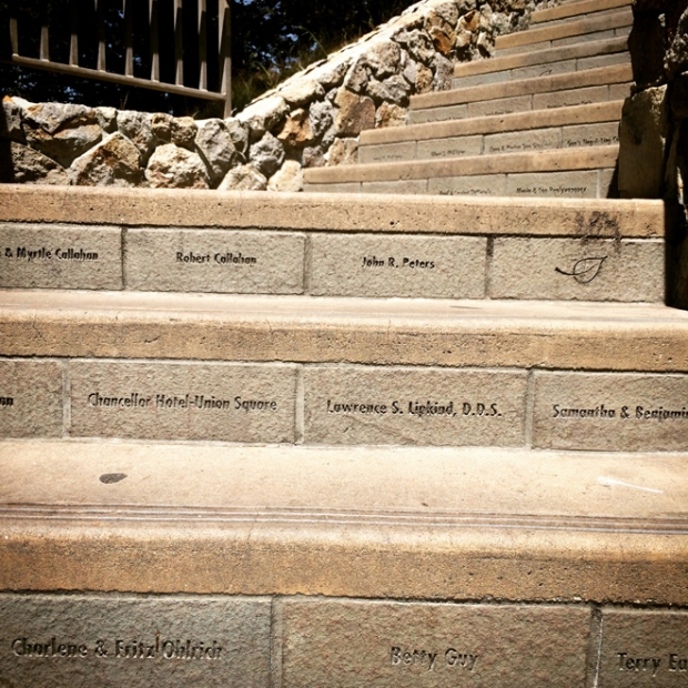 Cost Tower steps with engraved names