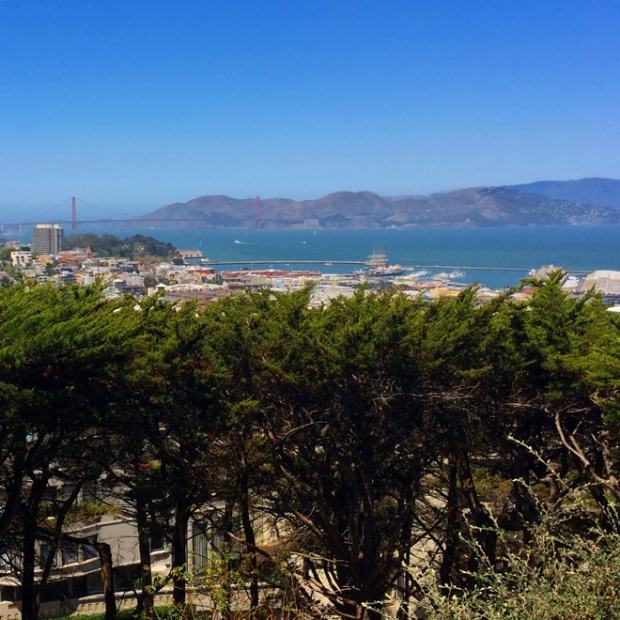 view of the San Francisco Bay and the Golden Gate Bridge from Coit Tower