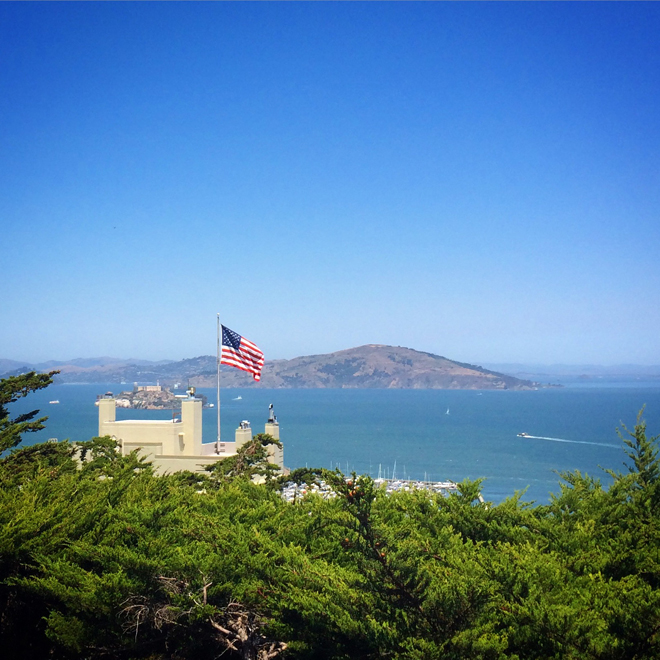 view of the San Francisco Bay from Coit Tower
