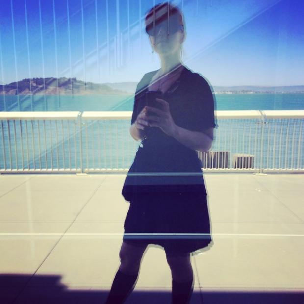 self portrait in Exploratorium window
