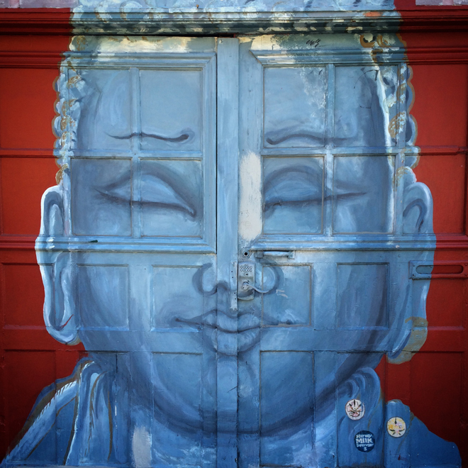 very zen garage. Buddha mural