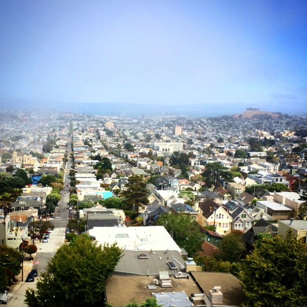 view of the Mission District and 24th Street from upper Market Street