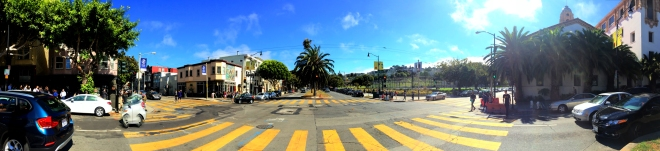 panorama of Dolores Street in the Mission District